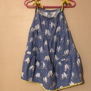 Baby Boden summer dress, blue with birds